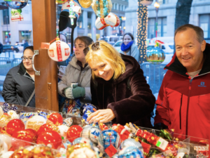 Happy visitors at the German Christmas Market