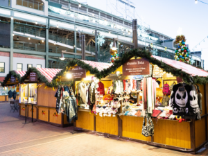 Holiday Market Booths next to the Cubs Stadium