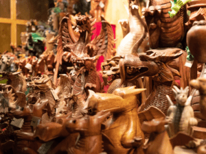 Variety of wooden showpieces